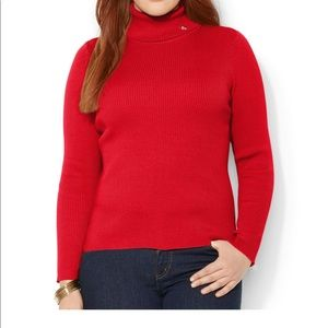 red ralph lauren knit ribbed turtle neck